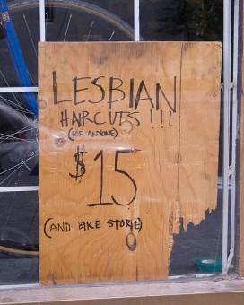 Lesbian Haircuts sign by Peter Lee via flikr cc 2